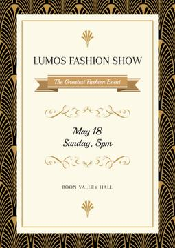 Fashion Show Invitation with Art Deco Pattern