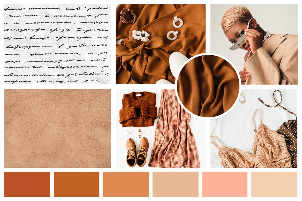 Woman in stylish Clothes and Accessories in natural colors Mood Board – шаблон для дизайна