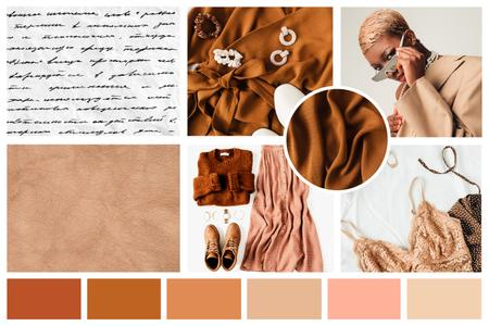 Woman in stylish Clothes and Accessories in natural colors Mood Board Design Template