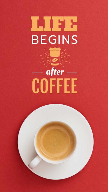 Cup of Coffee on Red table Instagram Video Story Modelo de Design