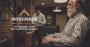 Movember Ad Man with mustache and beard at barbershop