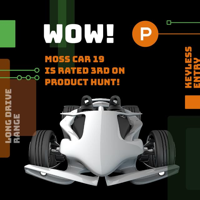 Product Hunt Launch Ad with Sports Car Animated Post Modelo de Design