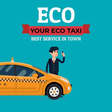 Eco Taxi Service Ad with Man Calling Taxi