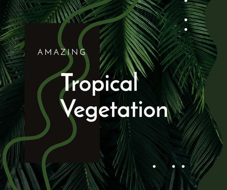 Plantilla de diseño de Green tropical plant Leaves Facebook