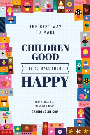 Designvorlage Childhood Quote in Funny Icons Frame für Pinterest