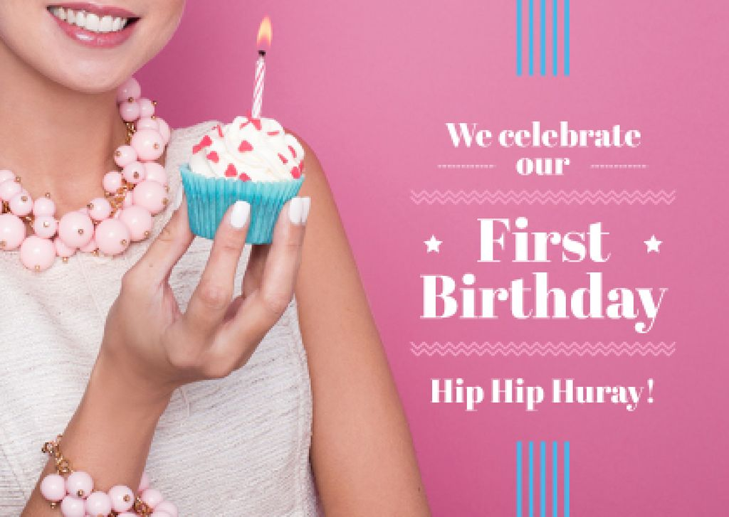 First birthday invitation card on pink background — Create a Design
