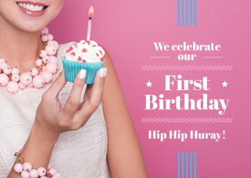 First birthday invitation card on pink background