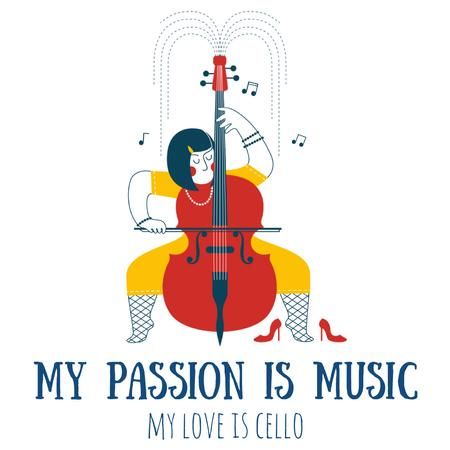 Plantilla de diseño de Inspirational Quote with Musician Playing Cello Animated Post