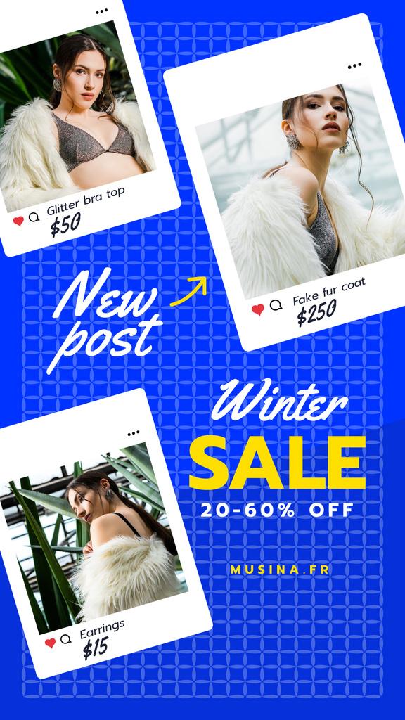Fashion Sale Woman in Faux Fur Coat | Stories Template — Создать дизайн