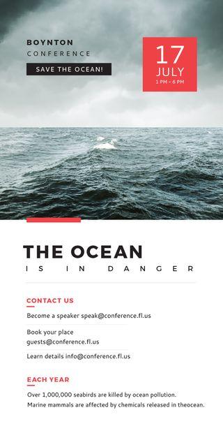 Plantilla de diseño de Ecology Conference Stormy Sea Waves Graphic