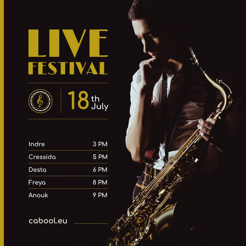 Jazz Festival Musician Holding Saxophone — ein Design erstellen