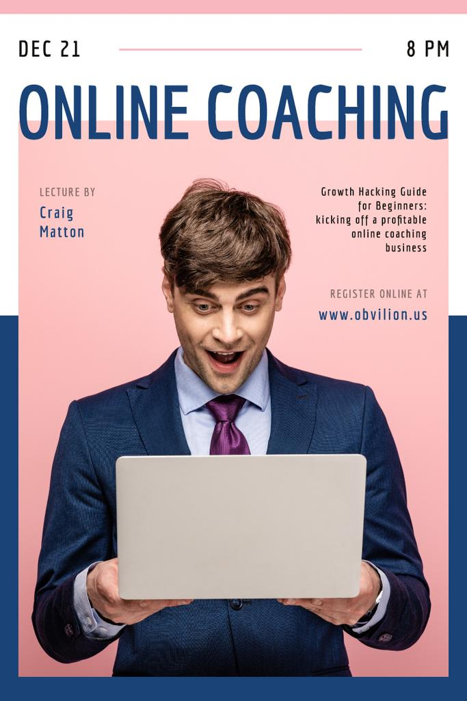 Online Courses Ad with Excited Man with Laptop - Bir Tasarım Oluşturun