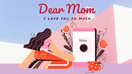 Modèle de visuel Mother's Day greeting by the phone - Full HD video