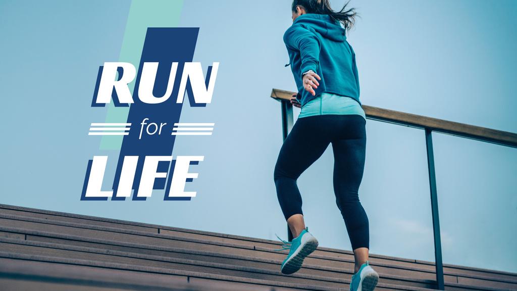 Citation with Running Woman Presentation Wide Modelo de Design