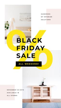 Black Friday Offer with Cozy interior in light colors Instagram Story – шаблон для дизайну