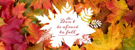 Plantilla de diseño de Quote on Autumn leaves background Facebook cover