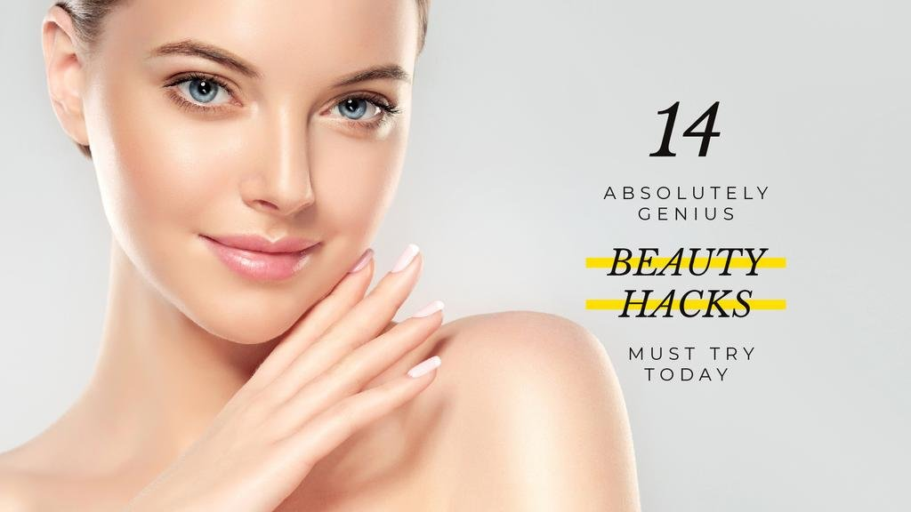 genious beauty hacks banner with beautiful young woman — Create a Design