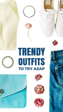 Template di design Fashion Look Flat Lay in Blue and White Instagram Video Story