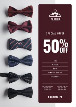 Men's Accessories Sale with Bow-Ties in Row