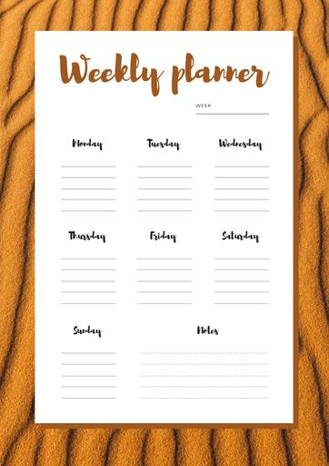 Weekly Plan On Desert Sand