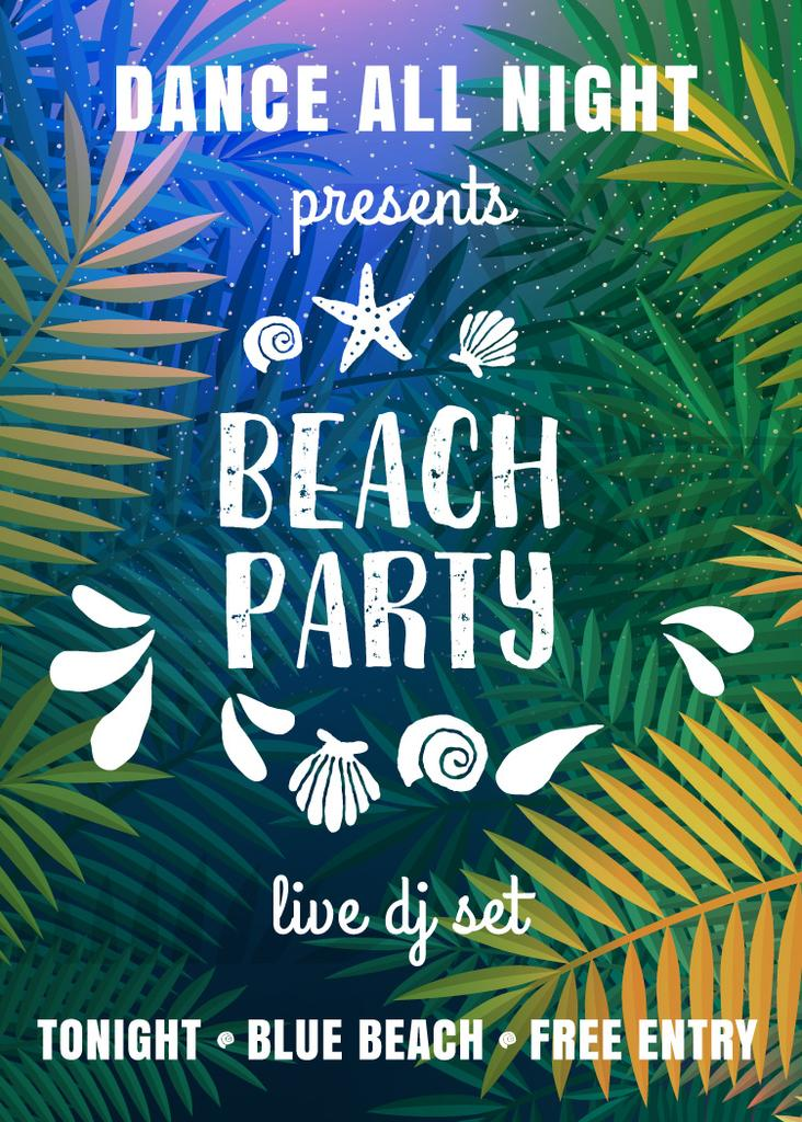 Dance party invitation with Palm leaves — Создать дизайн