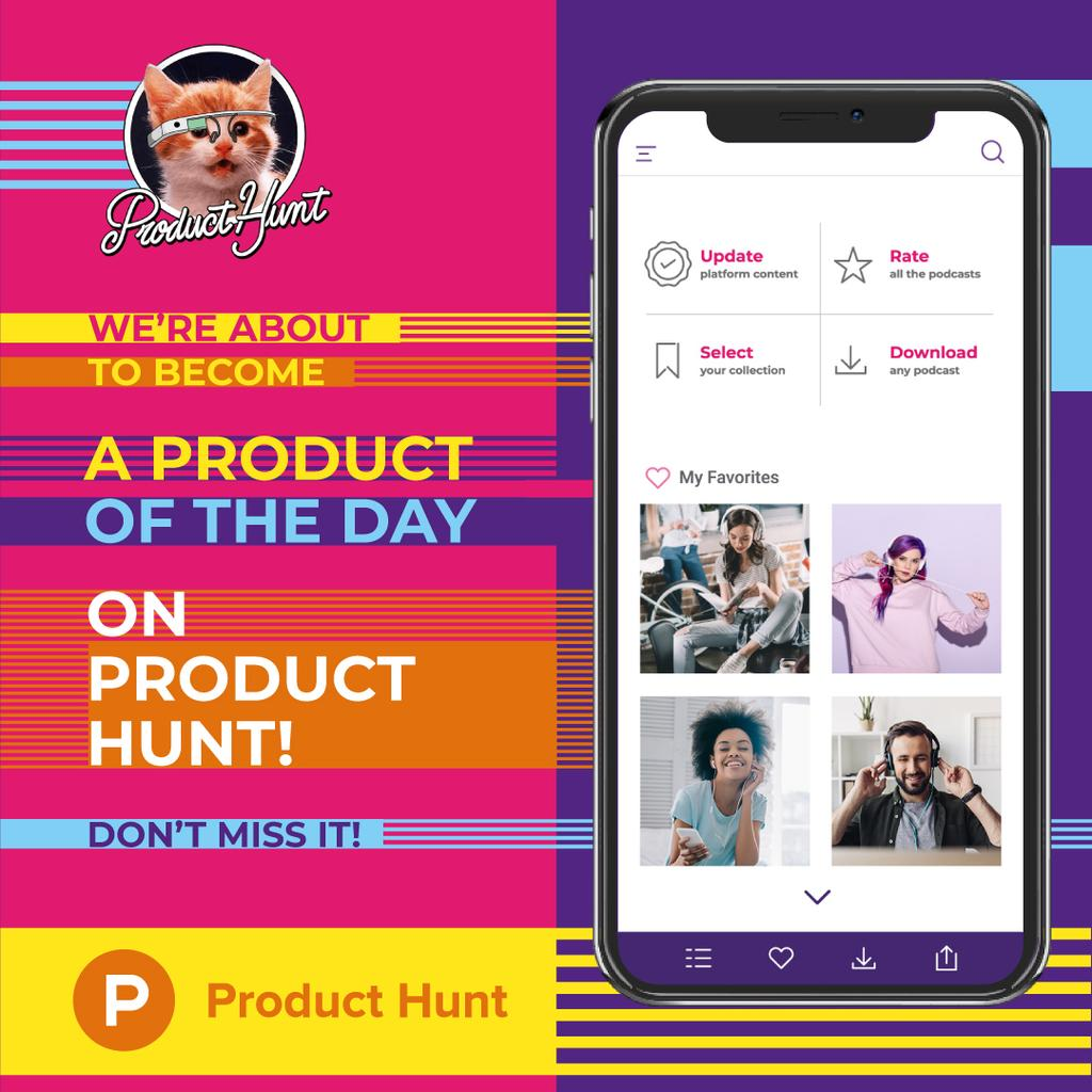 Product Hunt Promotion App Interface on Screen — Créer un visuel