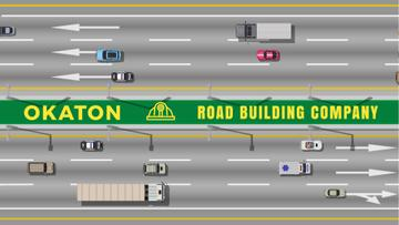 Road Building Business Cars and Trucks Driving