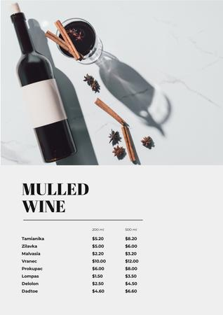Glass with Mulled Wine Menu Modelo de Design