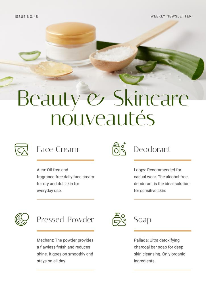 Beauty and Skincare nouveautes Review Newsletter Design Template