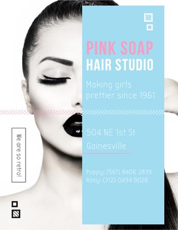 Hair Studio Ad Woman with creative makeup Poster US Modelo de Design