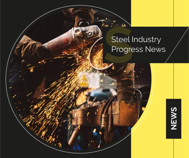 Man cutting metal in workshop Facebook – шаблон для дизайну