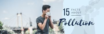 Pollution Facts with Man in Protective Mask
