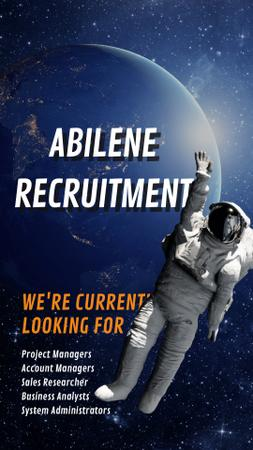Hiring Offer Astronaut Waving in Outer Space Instagram Video Story – шаблон для дизайна