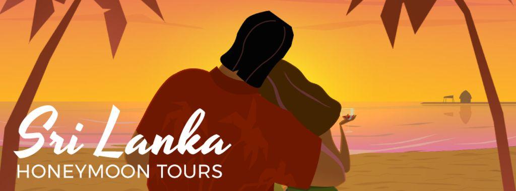 Couple hugging on tropical sunset background — Crear un diseño