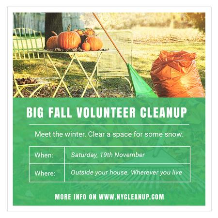 Modèle de visuel Volunteer Cleanup with Pumpkins in Autumn Garden - Instagram AD