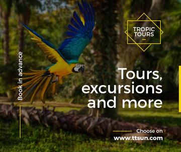 tropic tour banner with flying parrot