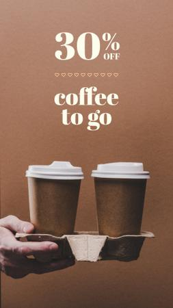 Plantilla de diseño de Coffee to go Special Discount Offer Instagram Story