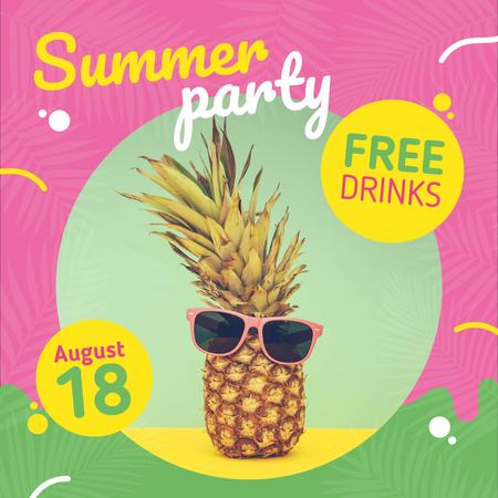 Summer Party Invitation Pineapple in Sunglasses Instagram Design Template