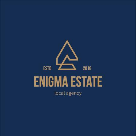 Real Estate Agency Ad with Building Icon in Blue Logo Modelo de Design