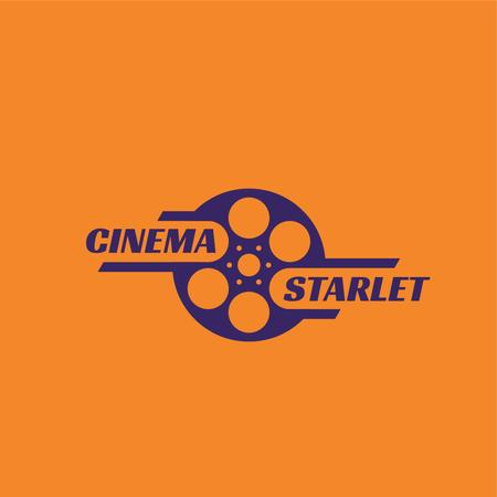 Cinema Film with Bobbin Icon Logoデザインテンプレート