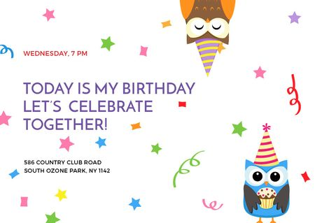 Birthday Invitation with Party Owls Postcard Tasarım Şablonu