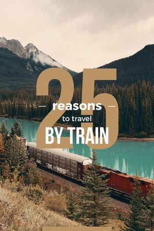 Travelling by Train Railways in Nature Landscape Tumblr Modelo de Design