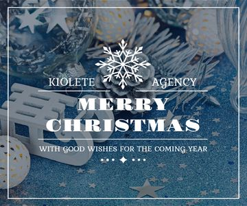 Christmas Greeting Shiny Decorations in Blue | Large Rectangle Template