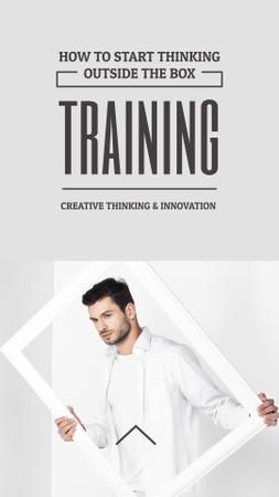 Creative agency ad Man Holding Frame in White Instagram Story – шаблон для дизайну