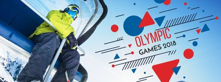 Winter Olympics Annoucement Facebook cover Modelo de Design