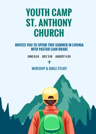 Plantilla de diseño de Youth Religion Camp invitation with boy in Mountains Invitation