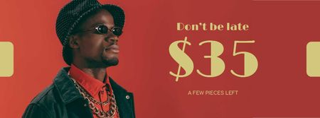 Plantilla de diseño de Shop Ad with Stylish Man in bright Outfit Facebook cover