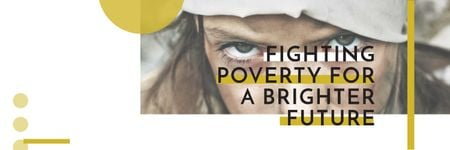 Ontwerpsjabloon van Twitter van Citation about Fighting poverty for a brighter future