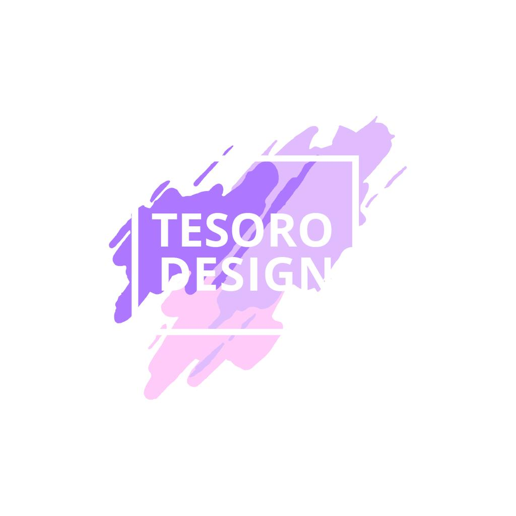 Design Studio Ad with Paint Smudges in Purple — Створити дизайн