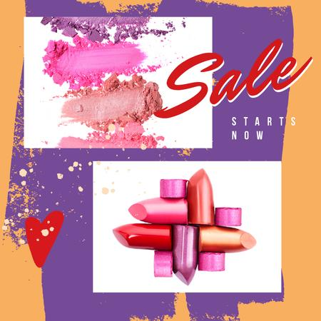 Szablon projektu Sale Ad with Colourful lipstick pieces Instagram